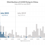 Distribution of A330 flying in China